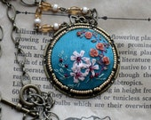 Floral embroidery necklace, Chinoiserie,  Chinoiserie jewelry, Embroidered jewelry, Gift for her, Silk ribbon embroidery