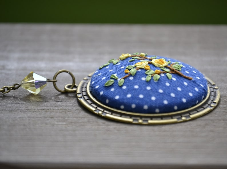 Chinoiserie necklace Yellow rose charm Chinoiserie embroidery pendant Medallion jewelry Blue polka dot summer pendant Ribbon embroidery