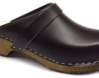 61a6277b44ff Traditional Wooden Clogs of Swedish Design in Brown Leather