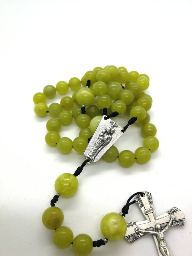 Rope cord St Jude green knotted rosary beads necklace