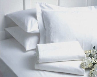 lot of 6 new queen size white hotel flat sheets t-180