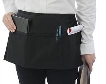 21162adacb0 1 pc Black Waiter Waitress Server 3 Pocket Waist Apron