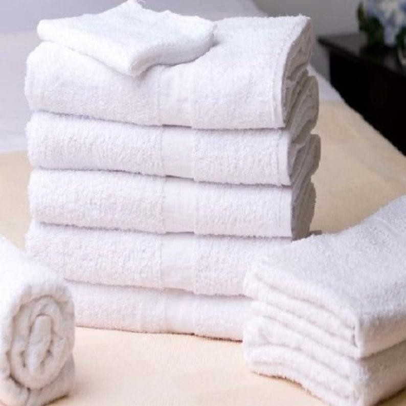 120 new white 100/% cotton washcloths cam border hotel motel facial barber 12x12