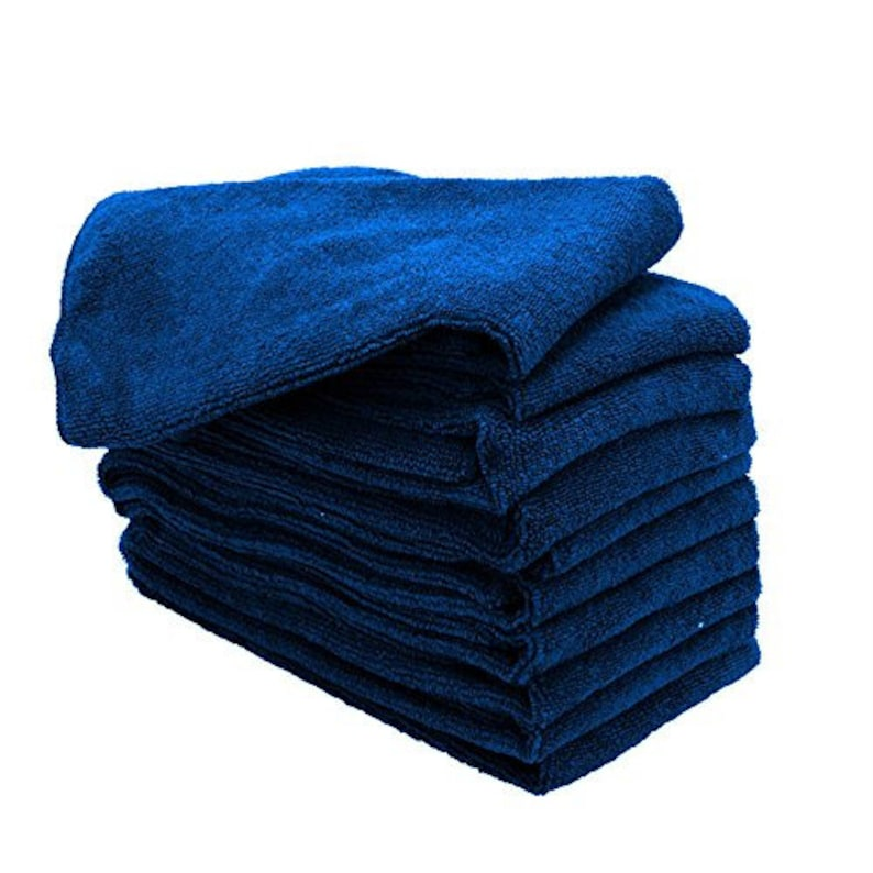 thick /& plush 12 blue microfiber towels new cleaning cloths bulk 16x16 330 gsm!