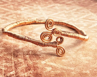 Rose Gold Coloured Arm Cuff, Adjustable Wirework Arm Band, Bohemian Style Jewelry