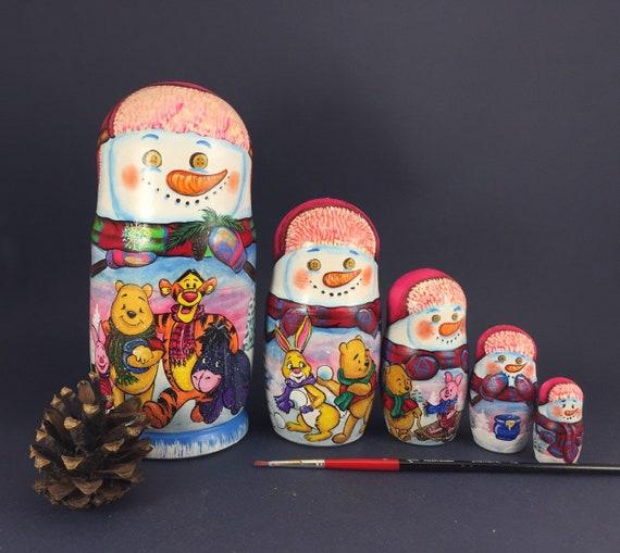 5Pcs Christmas Snowman Russian Wooden Nesting Dolls Xmas Matryoshka Kid Gifts