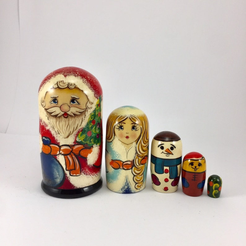 Nesting Dolls For Kids Wooden Handmade 6 Piece Doll Set Santa Claus And Friends