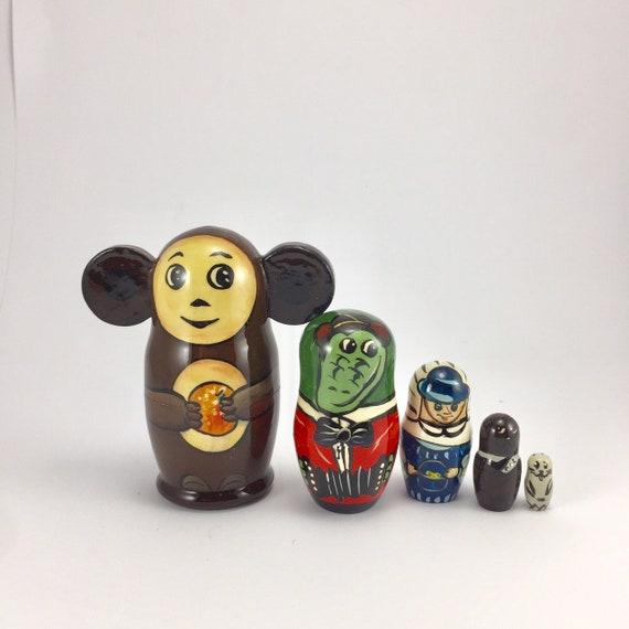Russian Matryoshka Cheburashka Wooden nesting dolls toy hand painted 5pcs