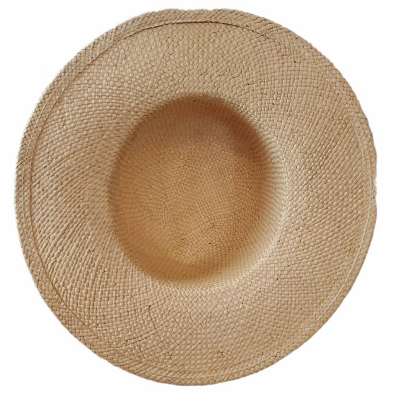 Vintage Wide Brim Panama Fedora Hat Straw - image 6