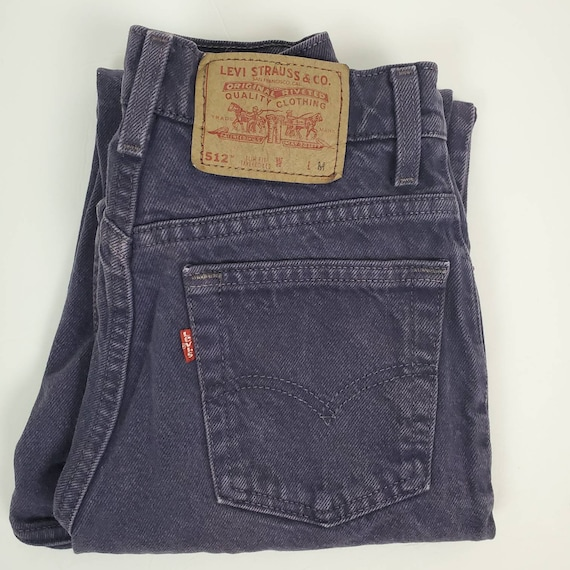 Vintage Levi's 512 Slim Fit Jeans 1995 Purple 26""