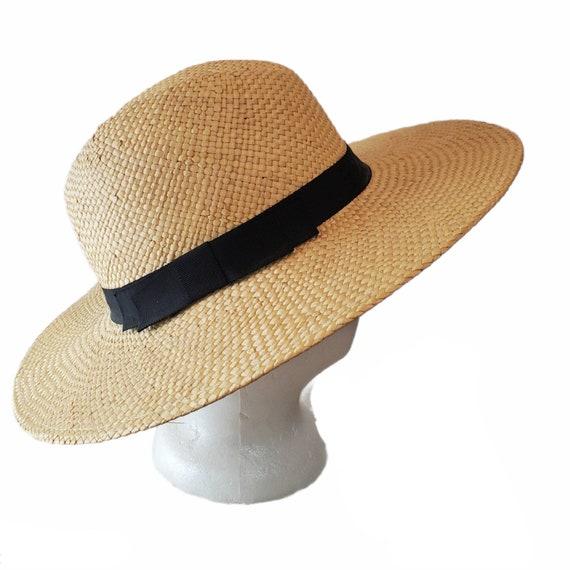 Vintage Wide Brim Panama Fedora Hat Straw - image 3