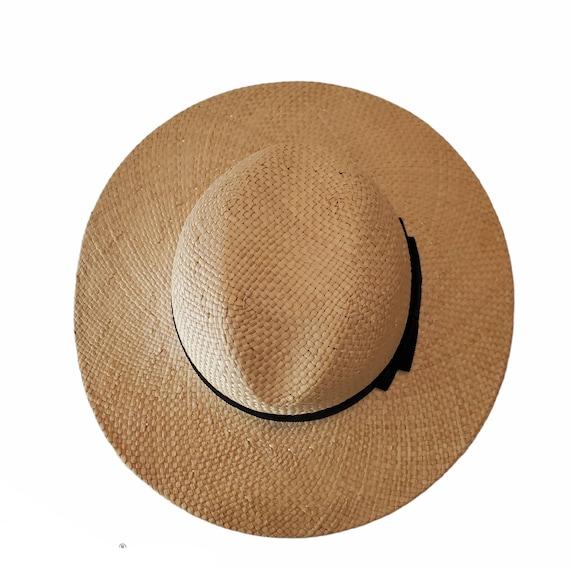 Vintage Wide Brim Panama Fedora Hat Straw - image 5