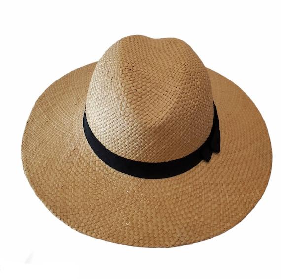 Vintage Wide Brim Panama Fedora Hat Straw - image 4