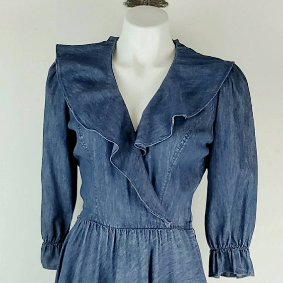 Vintage Ruffled Denim Prarie Dress small
