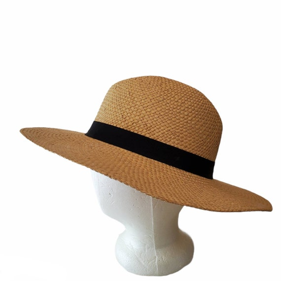 Vintage Wide Brim Panama Fedora Hat Straw - image 2