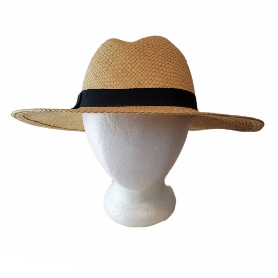 Vintage Wide Brim Panama Fedora Hat Straw - image 1