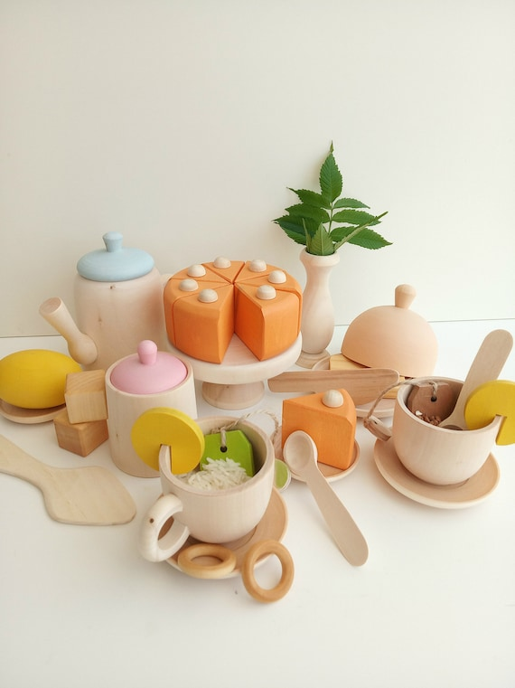 Wooden Tea Set for Playing Wooden Toy Tea Set Kids Wooden