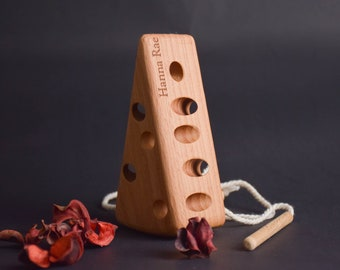 Wood Lacing Toy Cheese, Montessori Baby Toys, Waldorf Wooden Toys for Toddlers, Learning Toys, Child Development, Wooden First Birthday Gift