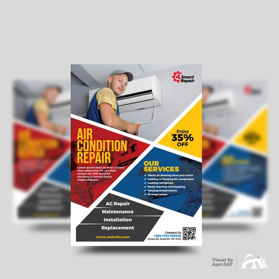 Repair Service Flyer Template | Air Condition Servicing Flyer Template |  Fixing Service Flyer | Instant Download | Digital File