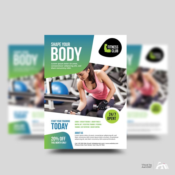 Fitness Flyer Template Gym Flyer Template Fitness & Gym Etsy
