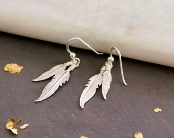 912d6a2c1 925 Sterling Silver Feather Earring, Silver Nature Earrings, Feather  Earrings, Silver Boho Earring, Silver Jewelry, Free Shipping, POL12