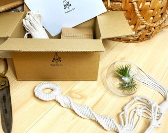 Easy DIY KIT Macrame Air Plant Holder with Glass Plant Pot included - beginners Craft gift