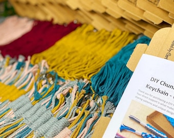 Easy Macrame DIY KIT for beginners - 3 keychains - Video tutorial and pattern