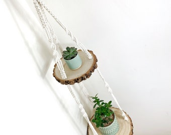 Double tier macrame wooden hanging shelf - small and large log slice