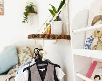 Nursery baby keepsake and memories storage shelf and clothing rail - wood log slice shelves