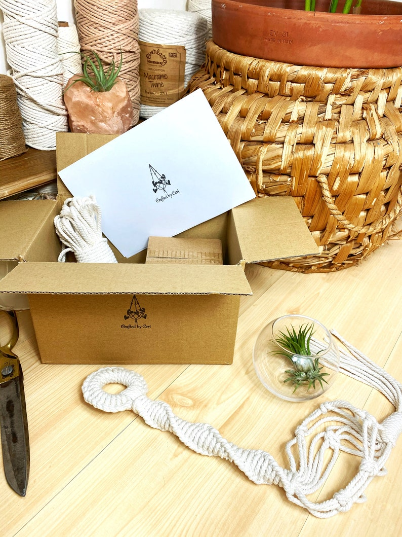 Easy DIY KIT Macrame Air Plant Holder with Glass Plant Pot image 0