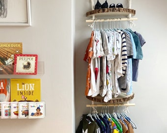 Boho Nursery Wooden Log Shelf / Children's Clothing Rail/ Baby Keepsake Display