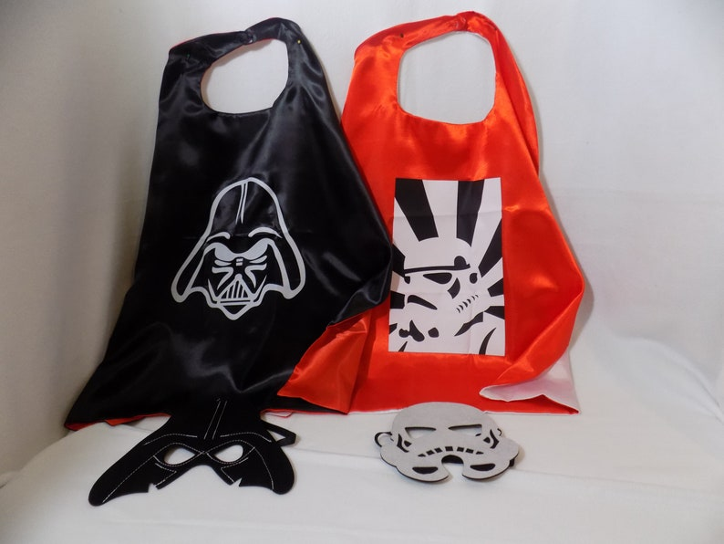 Storrm Trooper and Darth cape with mask, child's cape, personalized cape,  party favor, custom capes