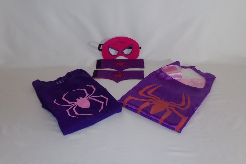 Spider girl cape, mask, cuffs and shirt, child's cape, personalized cape,  party favor, custom capes