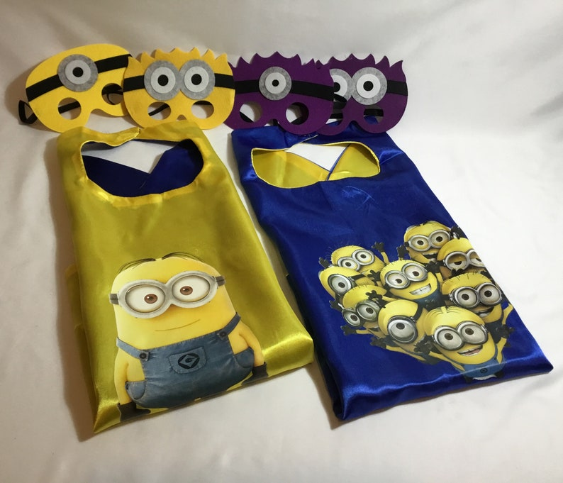 Minion cape with mask, child's cape, personalized cape, party favor, custom  capes