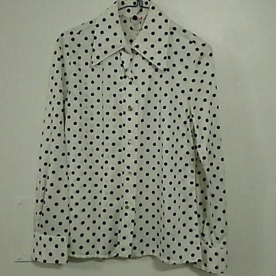 Vintage Polka Dot Button Down Womens Top, Vintage