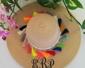ed6964c3 Monogram tessels moving, Floppy Beach, Floopy Hat, Beach Babe, Hello  Sunshine Straw, Just Married Hat, Honeymoon, Must Have, MANY COLORS