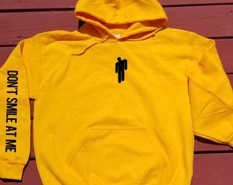 6754d9c555b4 Don t smile at me Billie Eilish Hoodie Sweatshirt Yellow Green - Eilish  Merch Dresses   Clothing - Eilish Merchandise