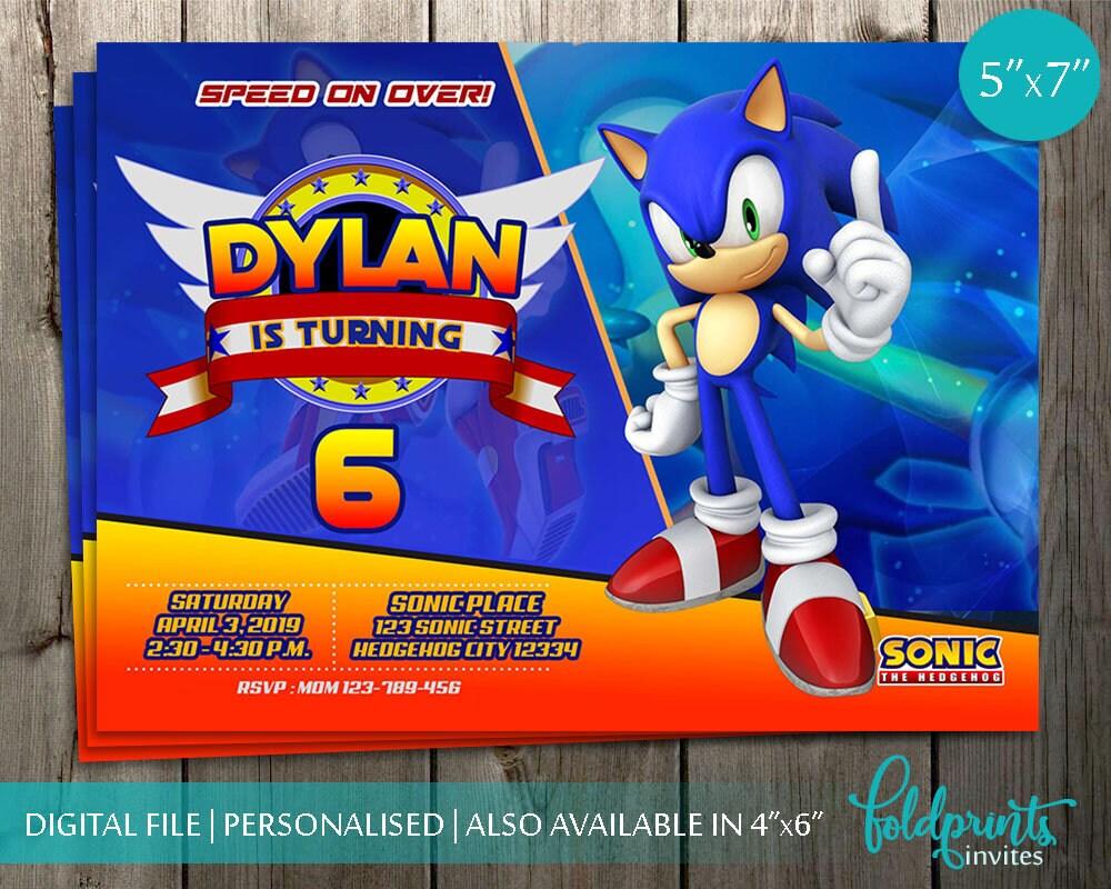 Sonic Invitation The Hedgehog Birthday Digital Printable Invite Party Card