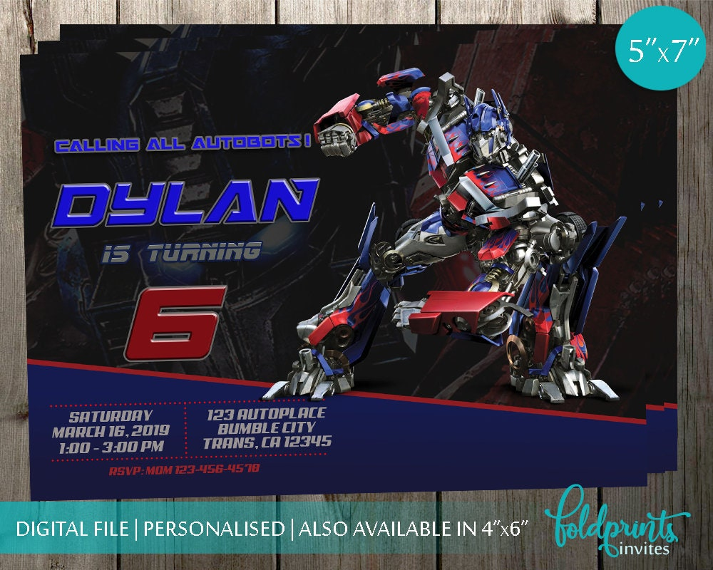 Transformers Invitation, Transformers Birthday Party, Optimus Prime  Invitation, Optimus Prime Printable, Digital File, Optimus Prime