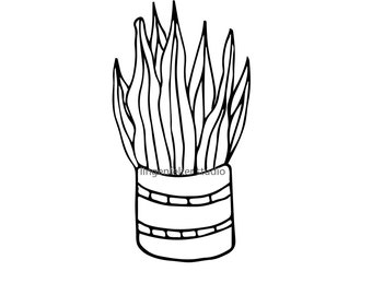 Hand drawn potted plant vector (SVG) image