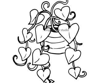 Hand drawn philodendron vector image clip art download (SVG file format)