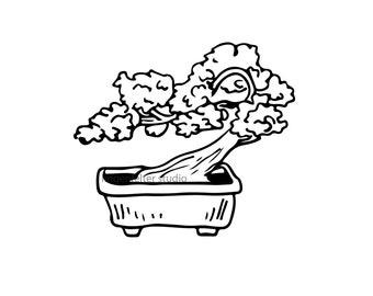 Hand drawn bonsai vector download, bonsai SVG, plant SVG, bonsai vector, svg file