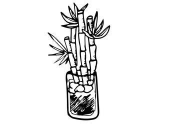 Hand drawn bamboo drawing digital file download (SVG)
