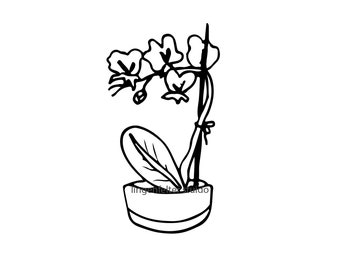 Hand drawn orchid SVG file download