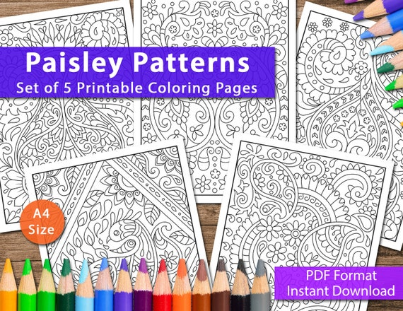 Set Of 5 Printable Paisley Patterns Coloring Pages For Adults Etsy