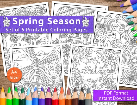 Set of 5 Printable Spring Season Coloring Pages for Adults