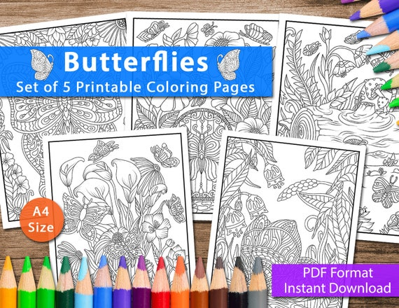 Set of 5 Printable Butterflies Coloring Pages for Adults