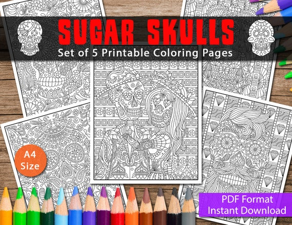 Sugar Skull With Roses Coloring Pages - Coloring Home | 440x570