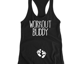 Pregnancy Announcement Shirt Pregnancy Workout Tank Pregnant Tank Pregnancy Gift Gym Buddy Tank Top Maternity Workout Tank