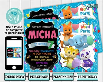 Word Party Invitation Birthday Invidation Invite Printable PixPlay03